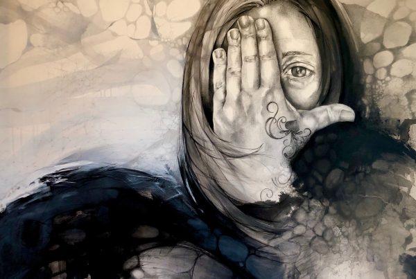 Ale Feijó | La maga. Técnica mixta, lápiz, carbonilla, tinta y acrílico sobre lienzo. 150 x 120 cm