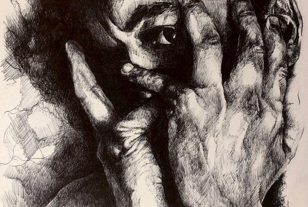 Ale Feijó | Serie Retratos. David. Bolígrafo sobre papel. 21 x 29 cm
