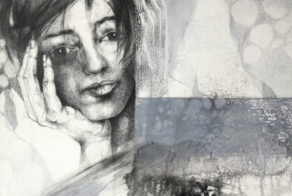 Ale Feijó | En mi mente. Técnica mixta, lápiz, carbonilla, tinta y acrílico sobre lienzo. 50 x 60 cm