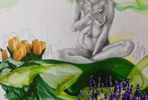 Ale Feijó | Primavera | Técnica mixta: dibujo sobre papel y collage digital impreso sobre el papel dibujado. 21.5 x 17 cm