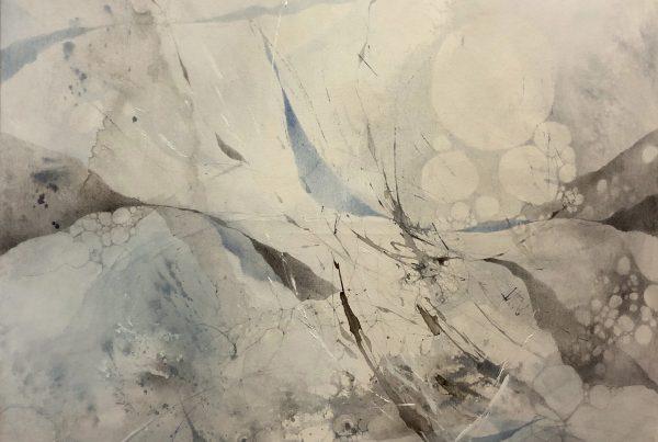 Ale Feijó | Aire | Técnica mixta, lápiz, lápices de color, carbonilla, tinta y acrílico sobre lienzo. 120 x 120