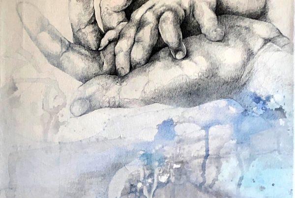 Ale Feijó | Amor | Técnica mixta, lápiz, lápices de color ,carbonilla, tinta y acrílico sobre lienzo. 40 x 60