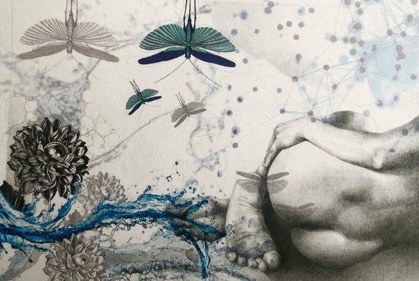 Ale Feijó | Mixtura de cuerpos III | Técnica mixta: dibujo sobre papel y collage digital impreso sobre el papel dibujado. 34 x 23.5 cm