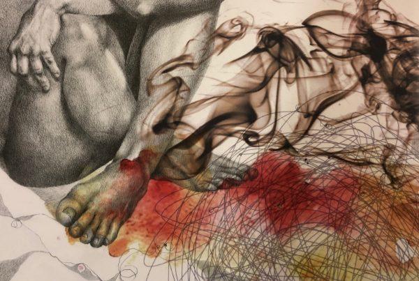 Ale Feijó | Mixtura de cuerpos I | Técnica mixta: dibujo sobre papel y collage digital impreso sobre el papel dibujado. 34 x 23.5 cm