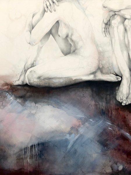 Ale Feijó | Soledad compartida. Técnica mixta,lápiz,lápices de color,carbonilla, tinta y acrílico sobre lienzo. 150 x 120 cm