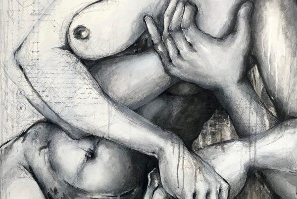 Ale Feijó | Serie grafías de tus manos y las mías I. Técnica mixta, acrílico, tinta, carbonilla y marcador sobre lienzo. 90 x 100 cm