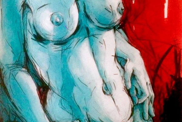 Ale Feijó | Serie Mujeres. Técnica mixta, acrílico, tinta y marcador sobre papel. 21 x 21 cm
