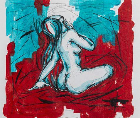 Ale Feijó | Serie Mujeres. Técnica mixta, acrílico, tinta y marcador sobre papel.21 x 21 cm