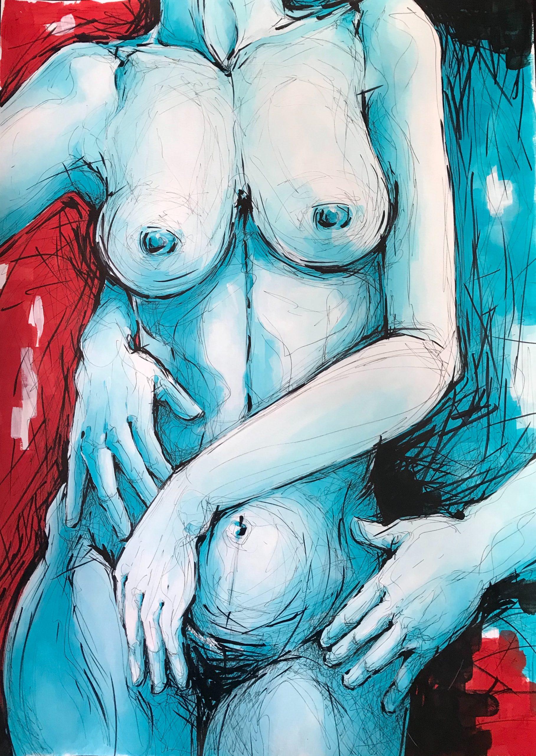 Ale Feijó | Serie Mujeres. Técnica mixta, acrílico, tinta y marcador sobre papel. 50 x 70 cm