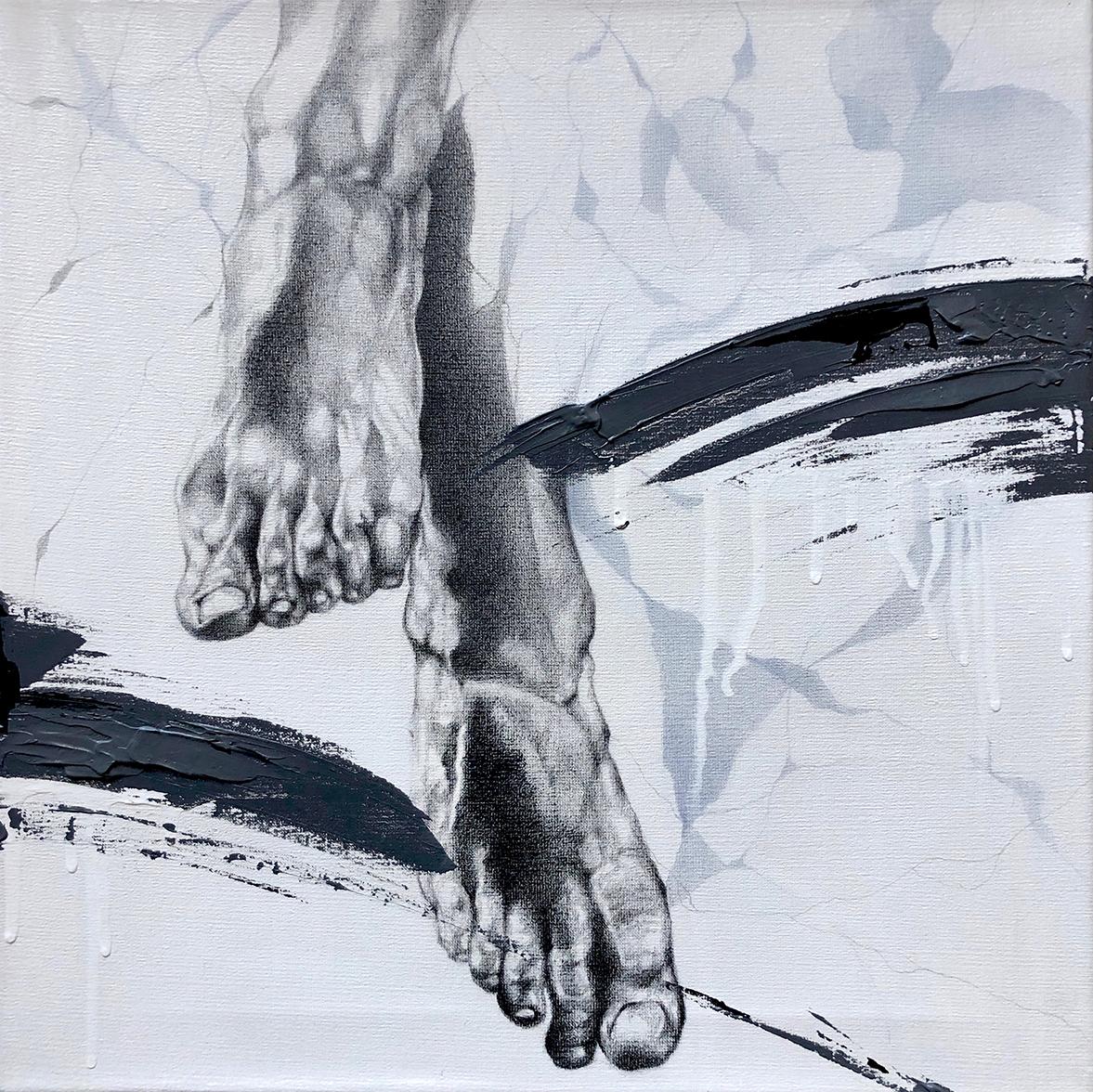 Ale Feijó | No me elijas por parte. tómame entera I. Técnica mixta, lápiz, carbonilla, tinta y acrílico sobre lienzo. 40 x 40 cm