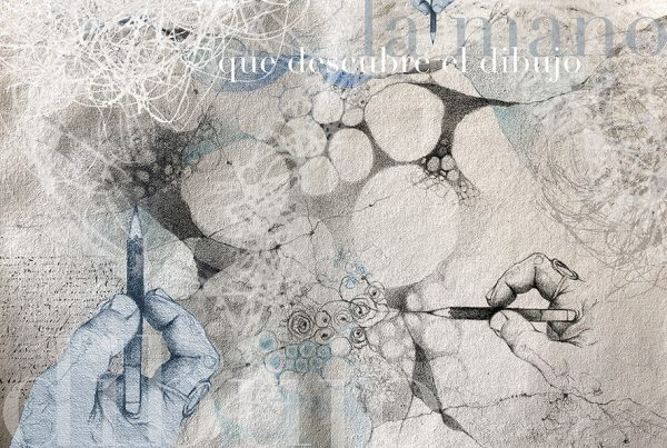 Ale Feijó | La mano que dibuja. Técnica mixta, lápiz y acrílico sobre lienzo y edición digital 32 x 22 cm