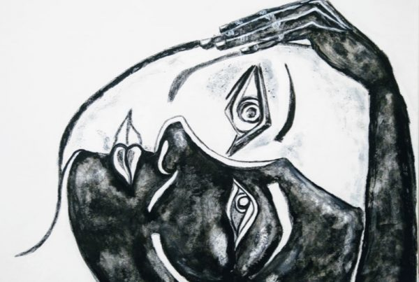 Sandra Bastida | Encuentro con mi sombra Técnica mixta, acrílico, carbonilla y tinta china 50 x 60 cm
