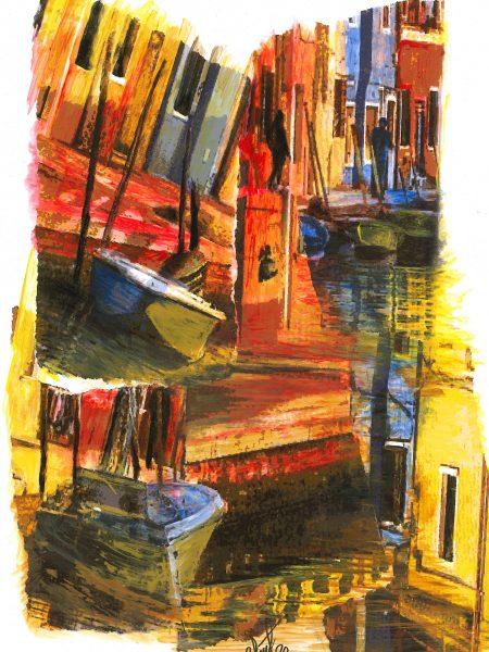 Adriana Furstner | Serie Arte digital. Reconstruyendo. Arte digital intervenido con acrílico sobre papel. 40 x 27 cm. 2020