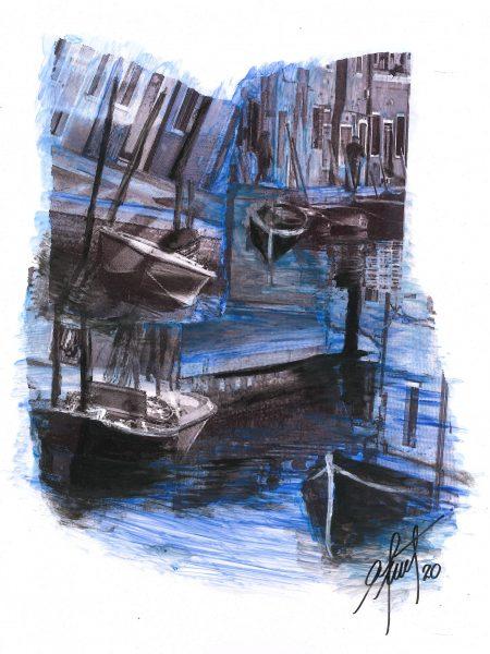 Adriana Furstner | Serie Arte digital. Distanciados. Arte digital intervenido con acrílico sobre papel. 21 x 26,5 cm. 2020