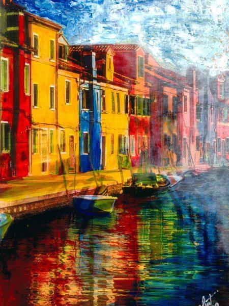 Adriana Furstner | Serie Arte digital. Despejando. Arte digital intervenido con acrílico sobre papel. 27 x 39,5 cm. 2019