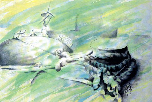 Adriana Furstner | Serie Arte digital. Capturando la llegada. Arte digital intervenido con acrílico sobre papel. 41 x 27,5 cm. 2019