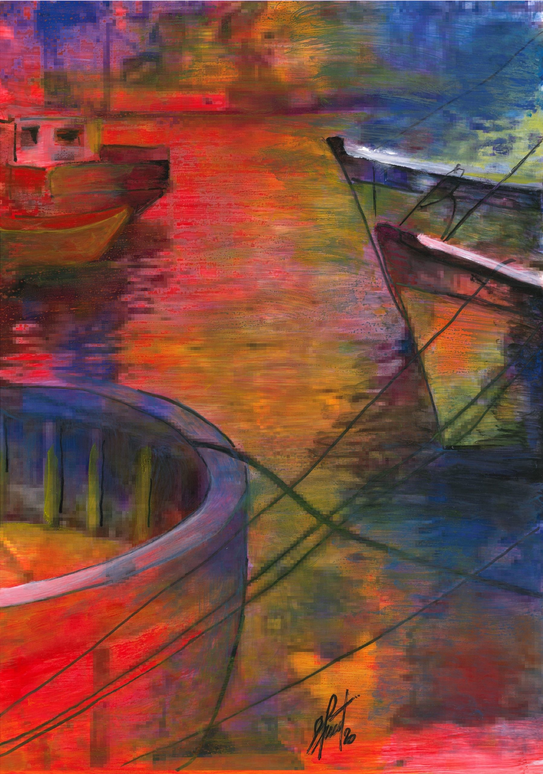 Adriana Furstner | Serie Arte digital. Pixeles, explosión a todo color. Arte digital intervenido con acrílico sobre papel. 39,5 x 28 cm. 2020