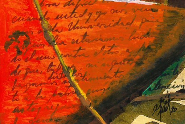 Adriana Furstner | Serie Cartasembarcadas. Carta recibida. Arte digital intervenido con acrílico sobre papel. 27 x 18 cm. 2020