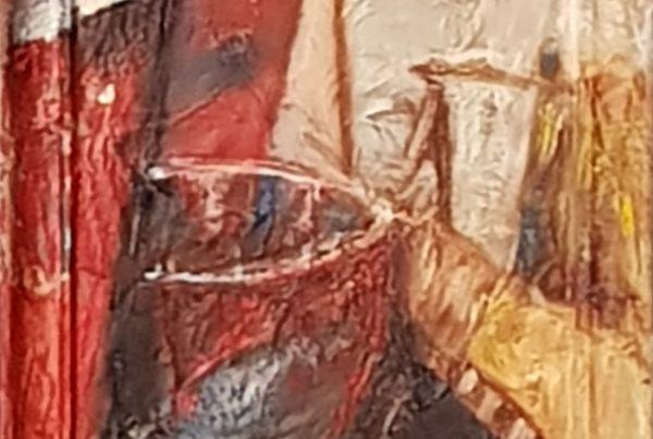 Adriana Furstner | Serie Obra en bastidor. Desde y con el marco me integro. Técnica mixta (papeles pegados pintado al óleo). 22 x 28 cm. 2017