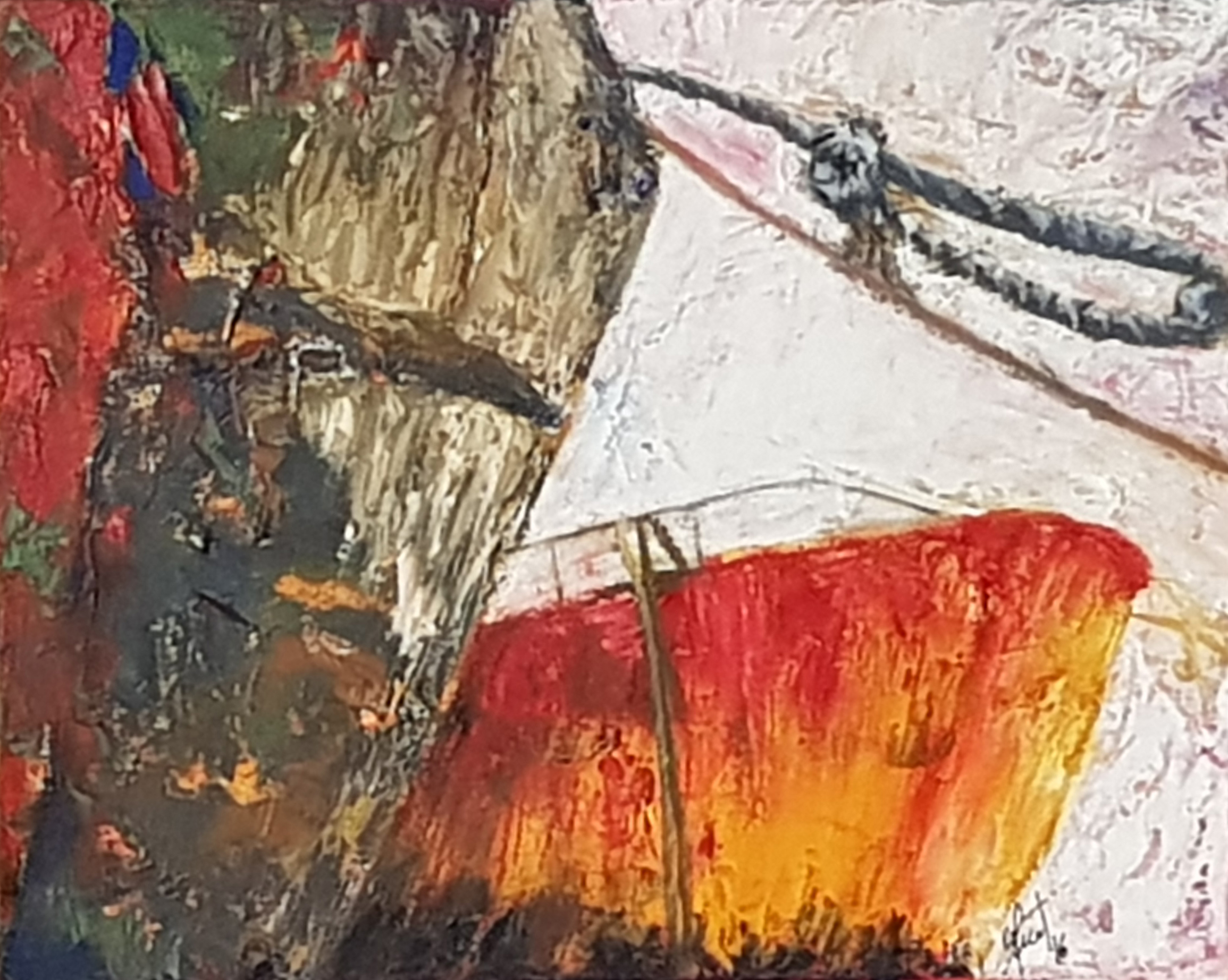 Adriana Furstner | Serie Obra en bastidor. Surgiendo entre los colores. Oleo sobre tela. 41 x 33 cm. 2017