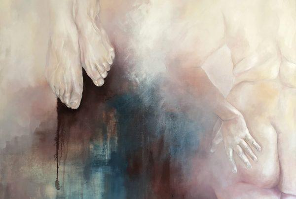Ale Feijó | A un metro del suelo, acrílico sobre lienzo, 120 x 120
