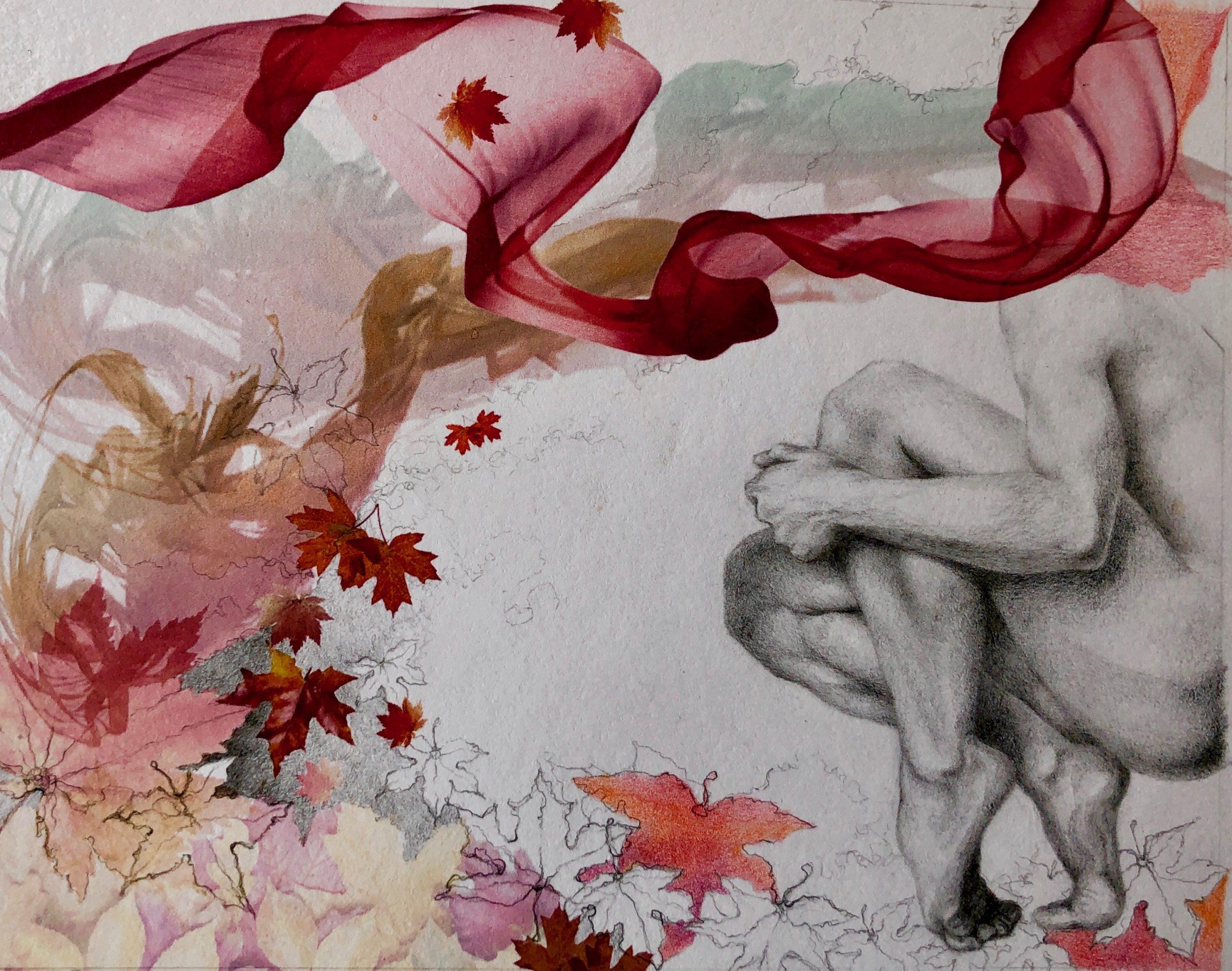 Ale Feijó   Otoño   Técnica mixta: dibujo sobre papel y collage digital impreso sobre el papel dibujado. 21.5 x 17 cm