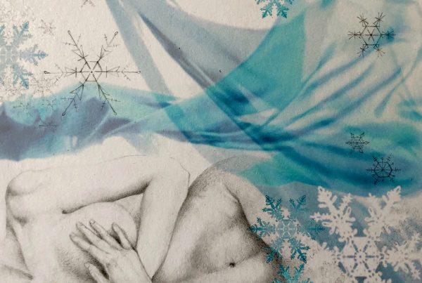Ale Feijó | Invierno | Técnica mixta: dibujo sobre papel y collage digital impreso sobre el papel dibujado. 21.5 x 17 cm
