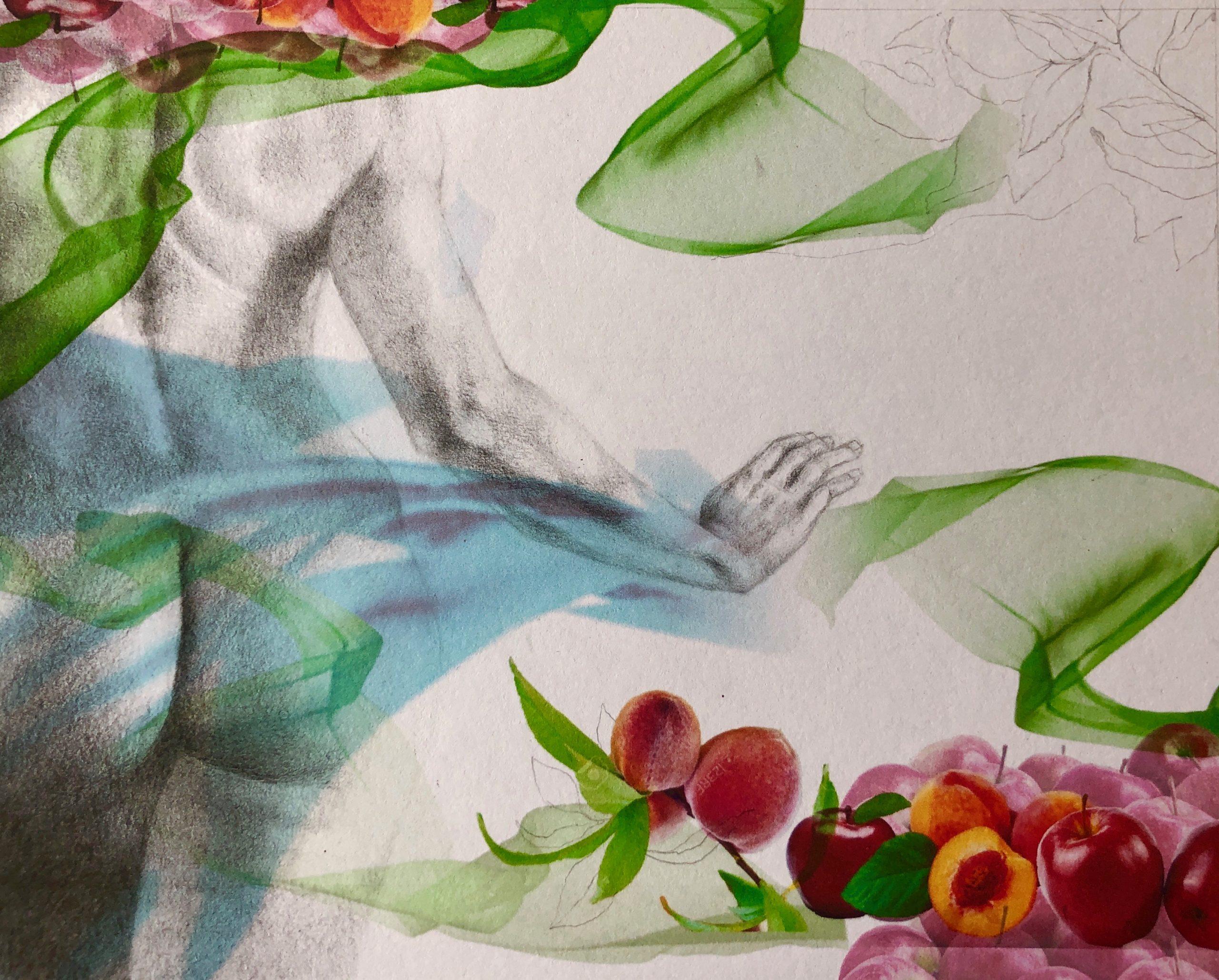 Ale Feijó   Verano   Técnica mixta: dibujo sobre papel y collage digital impreso sobre el papel dibujado. 21.5 x 17 cm