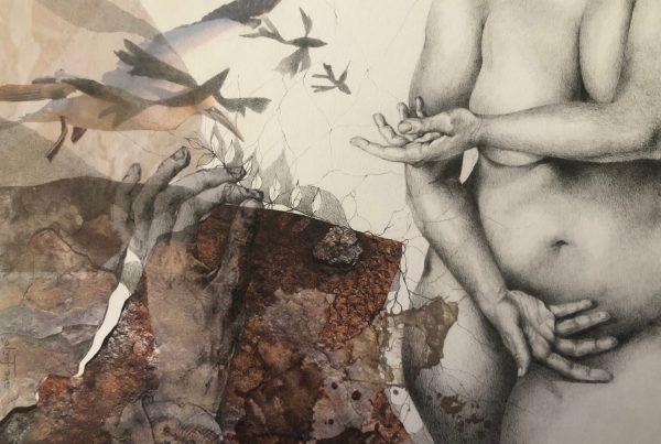 Ale Feijó | Mixtura de cuerpos II | Técnica mixta: dibujo sobre papel y collage digital impreso sobre el papel dibujado. 34 x 23.5 cm