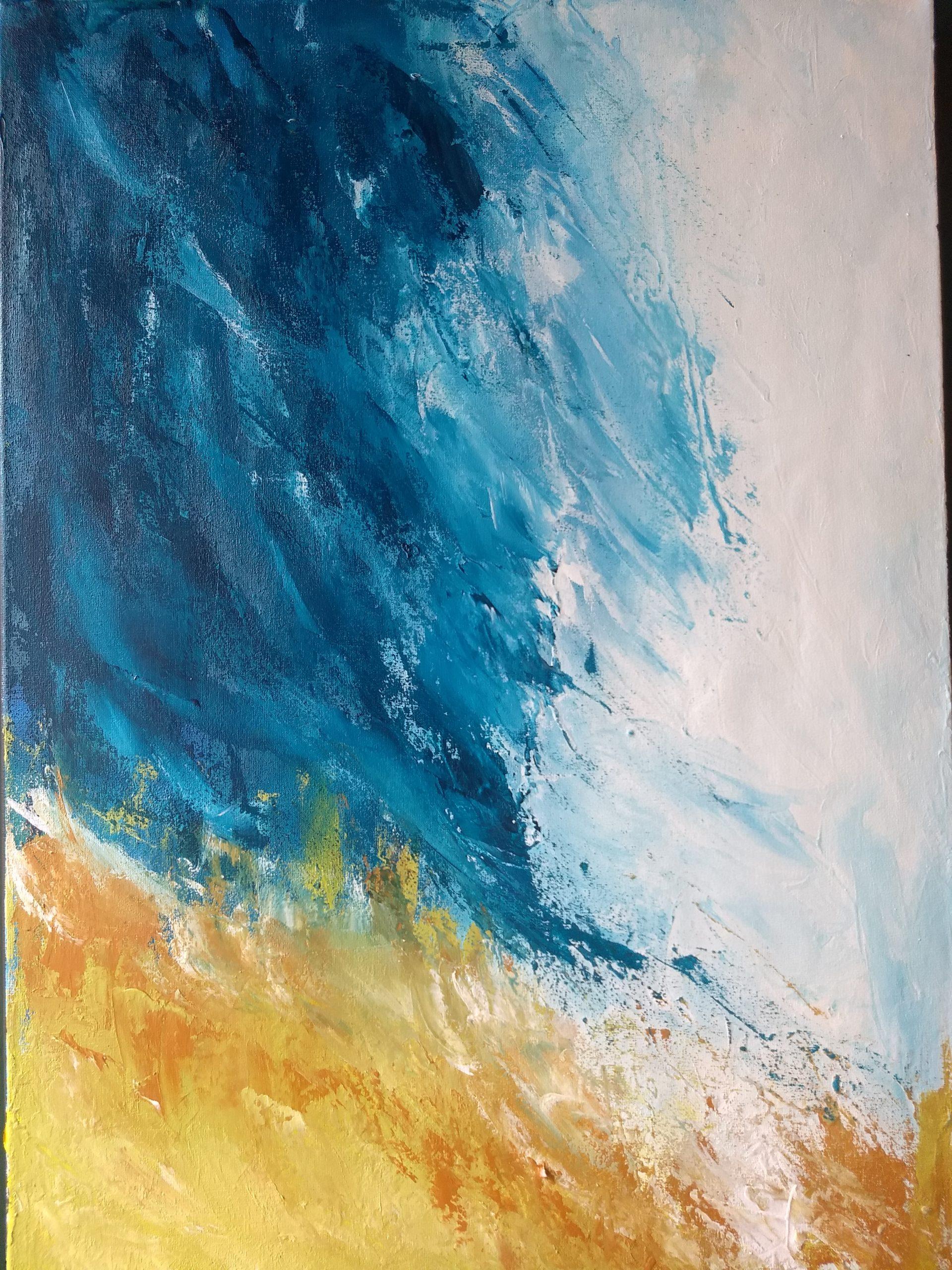 Silvia Portaluppi | Serie Abstractos. En la orilla. Acrílico 50 x 70 cm.