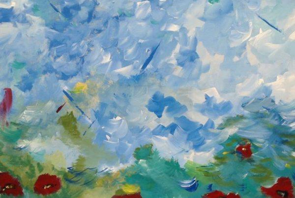 Silvia Portaluppi | Serie Abstractos. Despertar. Acrílico 70 x 70 cm.