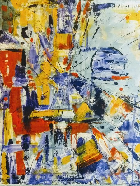 Silvia Portaluppi | Serie Abstractos. Cuando la luna dijo basta. Acrílico 50 x 50 cm.