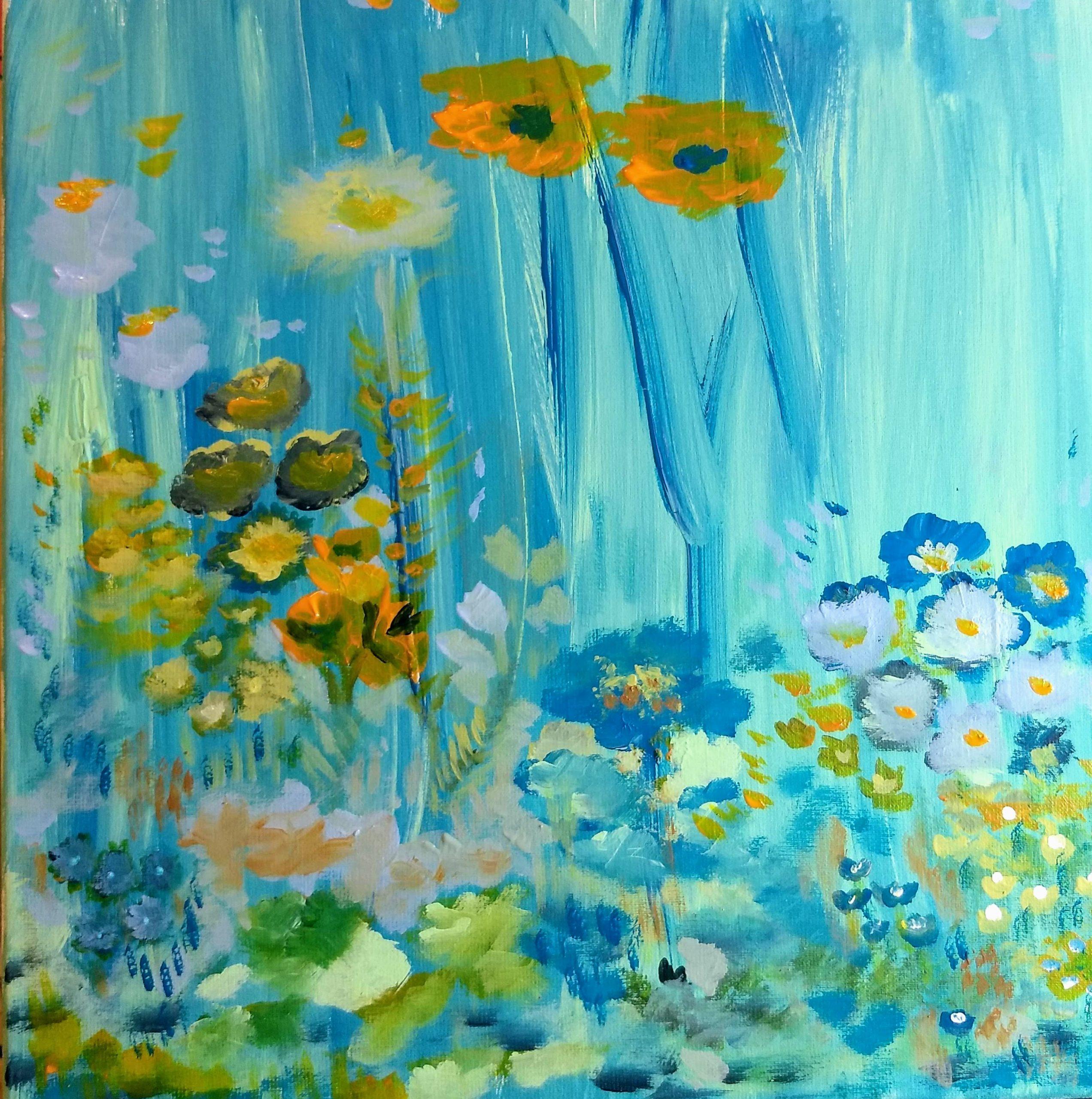 Silvia Portaluppi | Serie Natural. En el fondo del mar. Acrílico 40 x 40 cm.