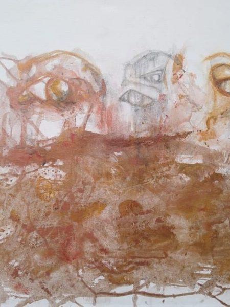Sandra Bastida | La otra mirada. Técnica mixta. Acrílico, polvo de cobre y tintes naturales de propia elaboración sobre lienzo de tela en bastidor de madera. 60 x 90 cm.