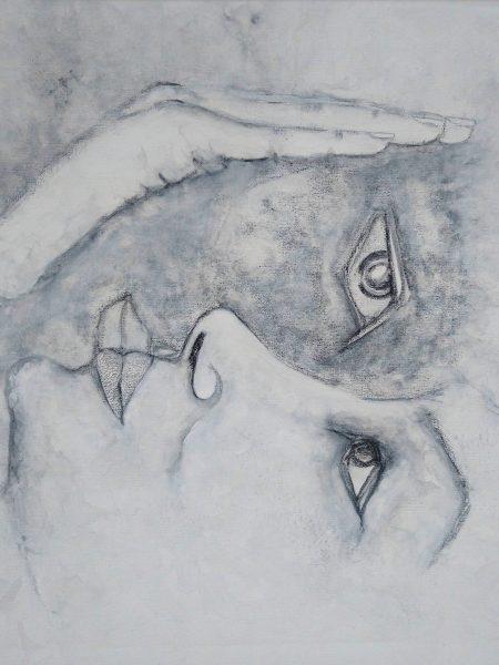 Sandra Bastida | Coincidir. Técnica mixta. Acrílico, grafito. Sobre lienzo de tela en bastidor de madera. 50 x 60 cm.