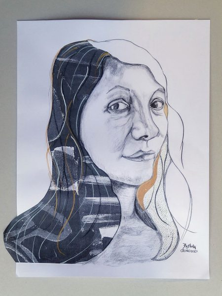 Sandra Bastida | Mujer Tierra Mujer Aire. Técnica mixta. Collage con papeles reciclados y grafito. Soporte: Papel profesional para acrílico. 50 x 35 cm.