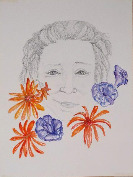 Sandra Bastida | Mujer Colibrí. Técnica mixta. Grafito, acuarelas y tintas. Soporte: Papel profesional para acrílico. 50 x 35 cm.