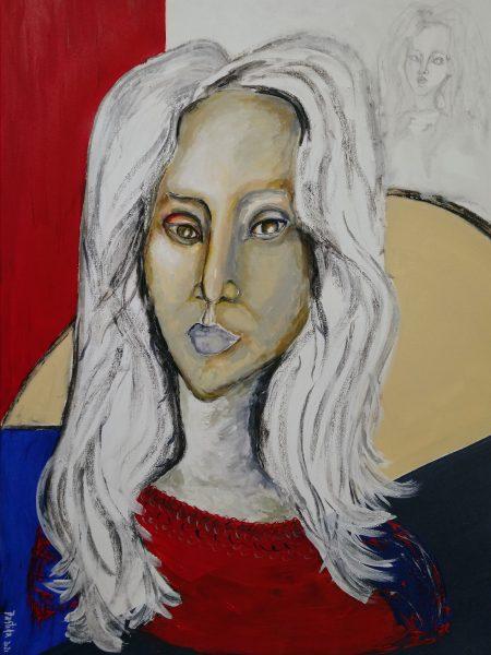Sandra Bastida | Una. Técnica mixta. Acrílico y carbonilla. Soporte: Lienzo en bastidor de madera. 70 x 50 cm.