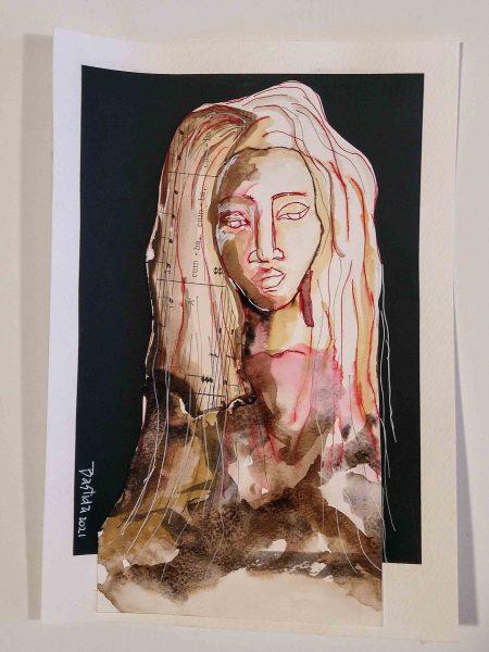 Sandra Bastida | La femina. Técnica mixta. Collage con papeles reciclados, partituras de tango quemadas, tintas. Soporte: Papel profesional para acrílico. 17 x 25 cm.